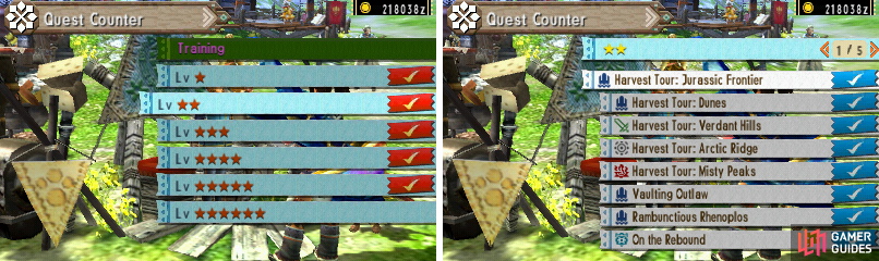 Here is the menu for the village quests.