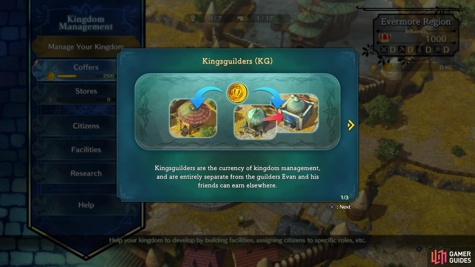 Kingsguilders will be your currency for building your kingdom