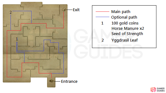 A map on how to get through the room with all of the doors, as well as the optional treasures in the same room.