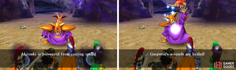 Not only can Gasputin prevent you from casting spells (left), he can also heal himself (right).