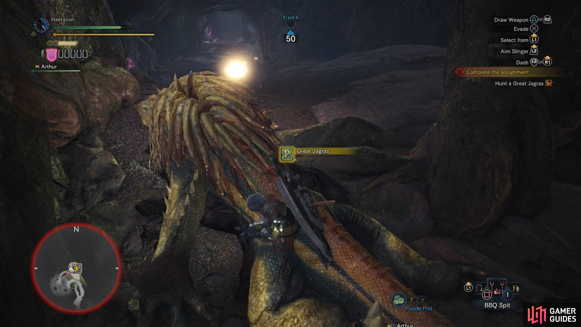 After slaying the Great Jagras, be sure to carve materials out of its corpse