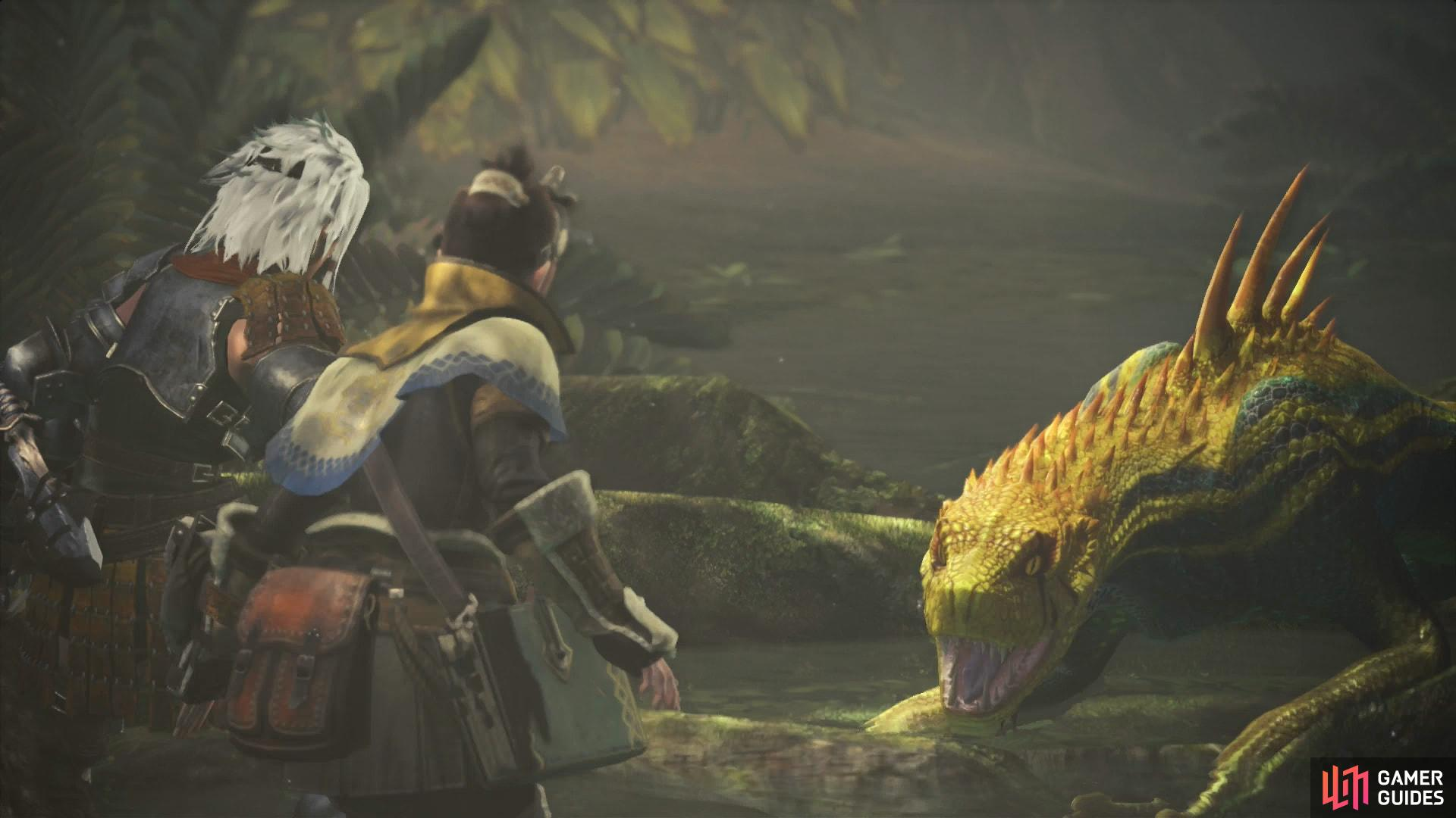 In the interior of the Ancient Forest you'll be accosted by a pack of Jagras