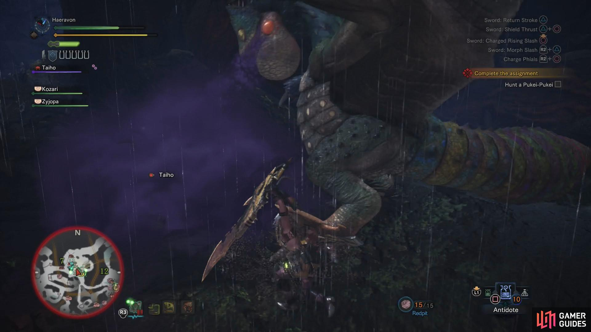 The Pukei-Pukei's most annoying attacks involve poison, including a poison gas breath attack