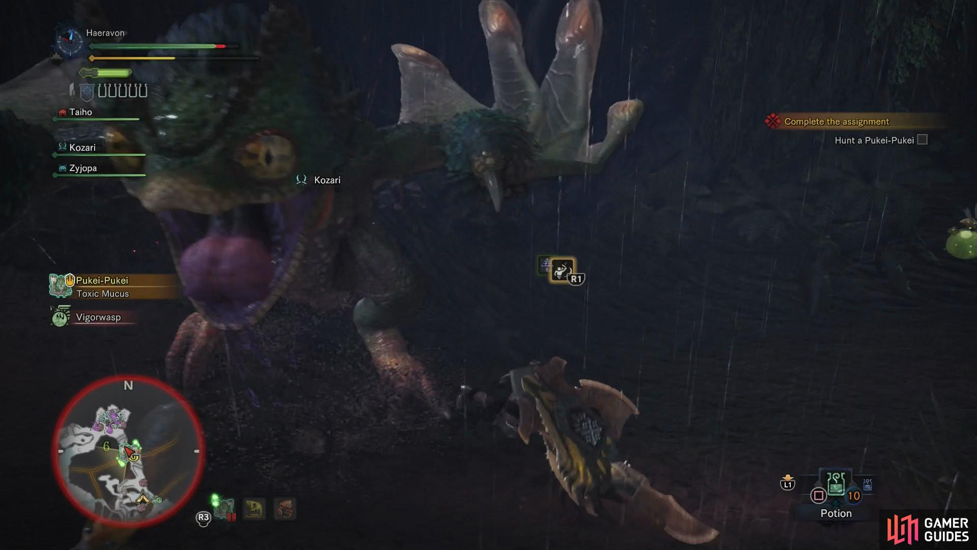The Pukei-Pukei can injure hunters by charging back and forth