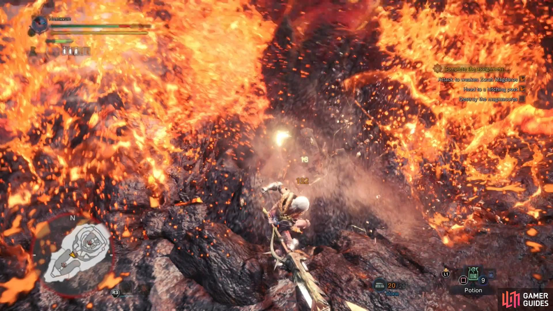 Find and destroy any Magmacores on Zorah Magdaros you find, but be wary of their fiery discharge
