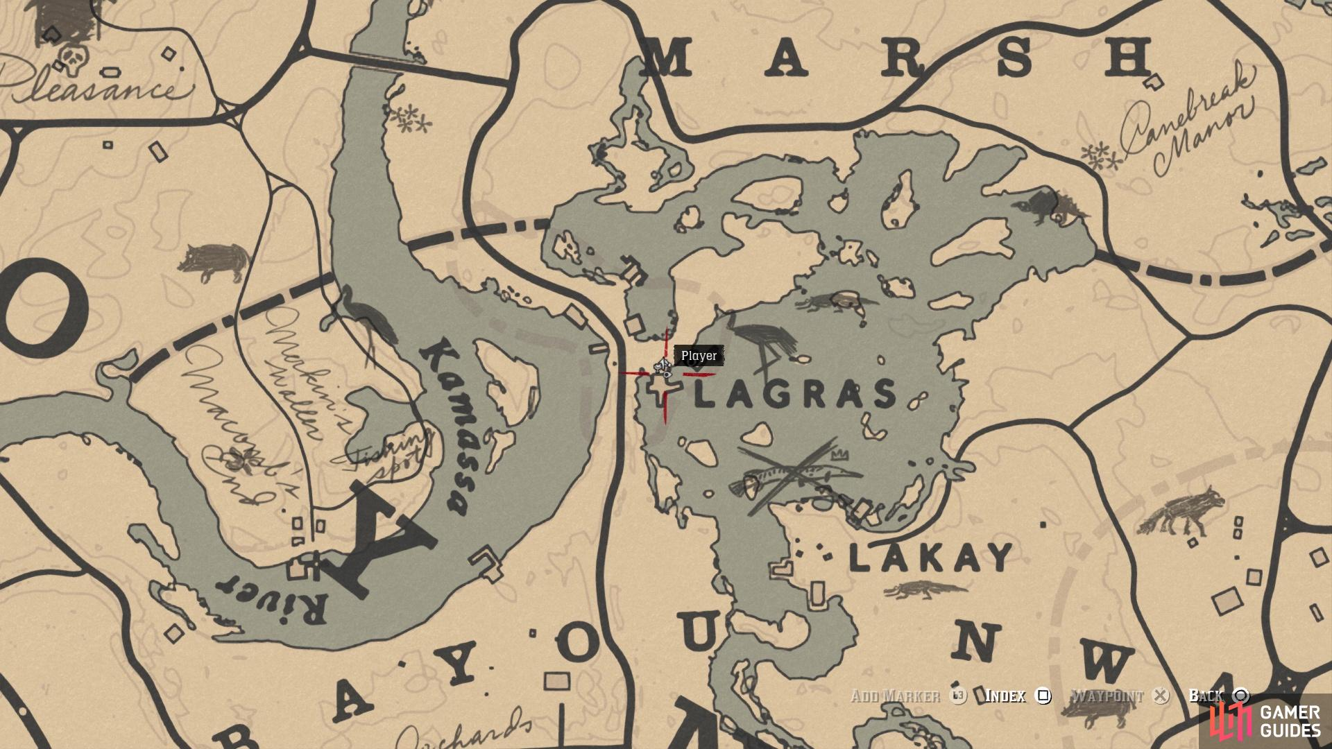 The location of the President Hardin card on the map