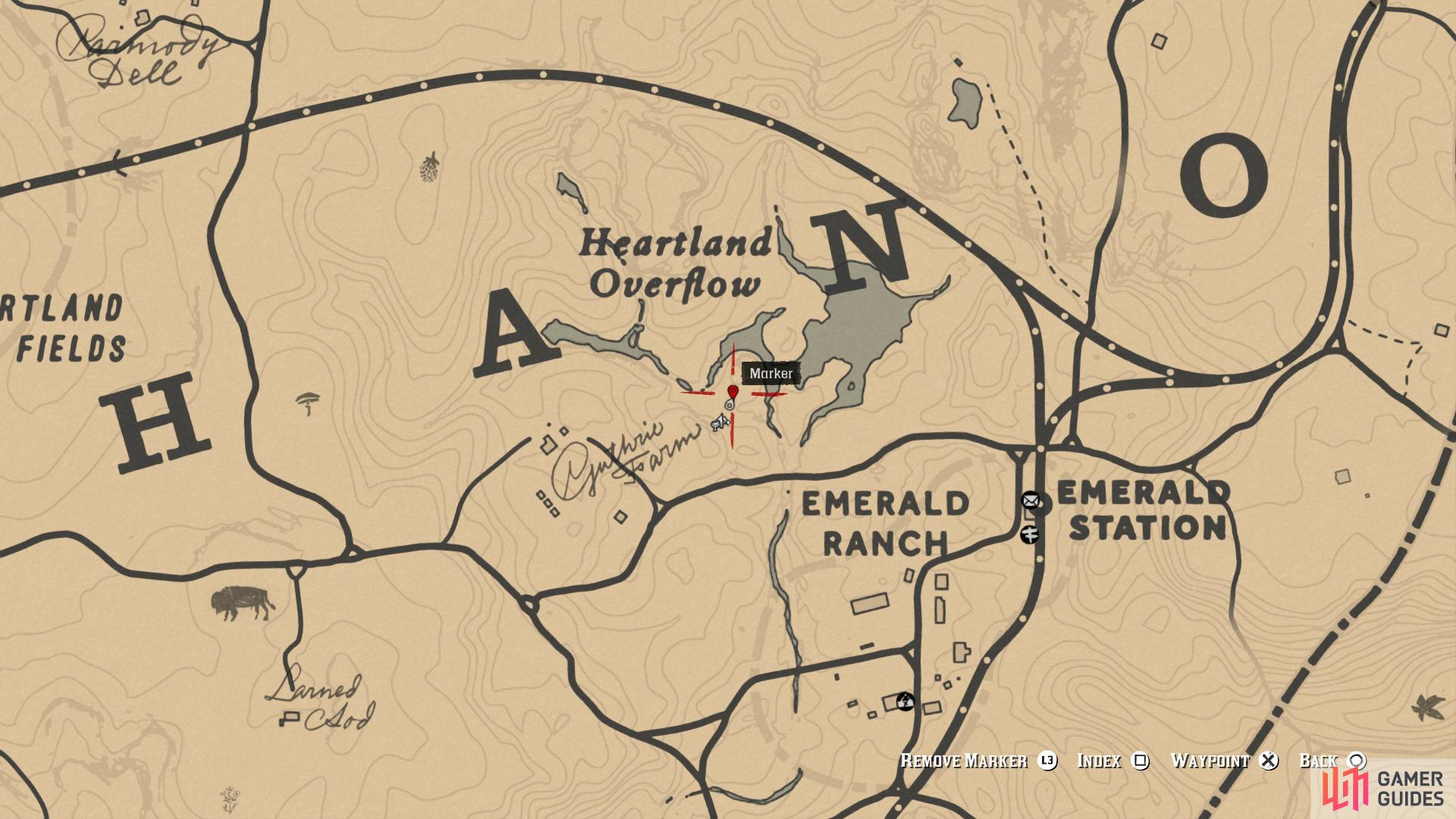 Head to the south of the Heartland Overflow, northwest of Emerald Ranch