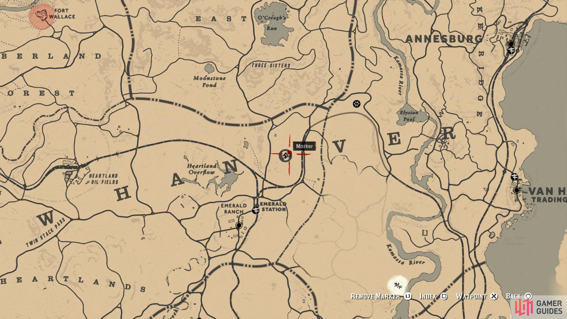 "Make your way to the ""O"" of Hanover on the map"