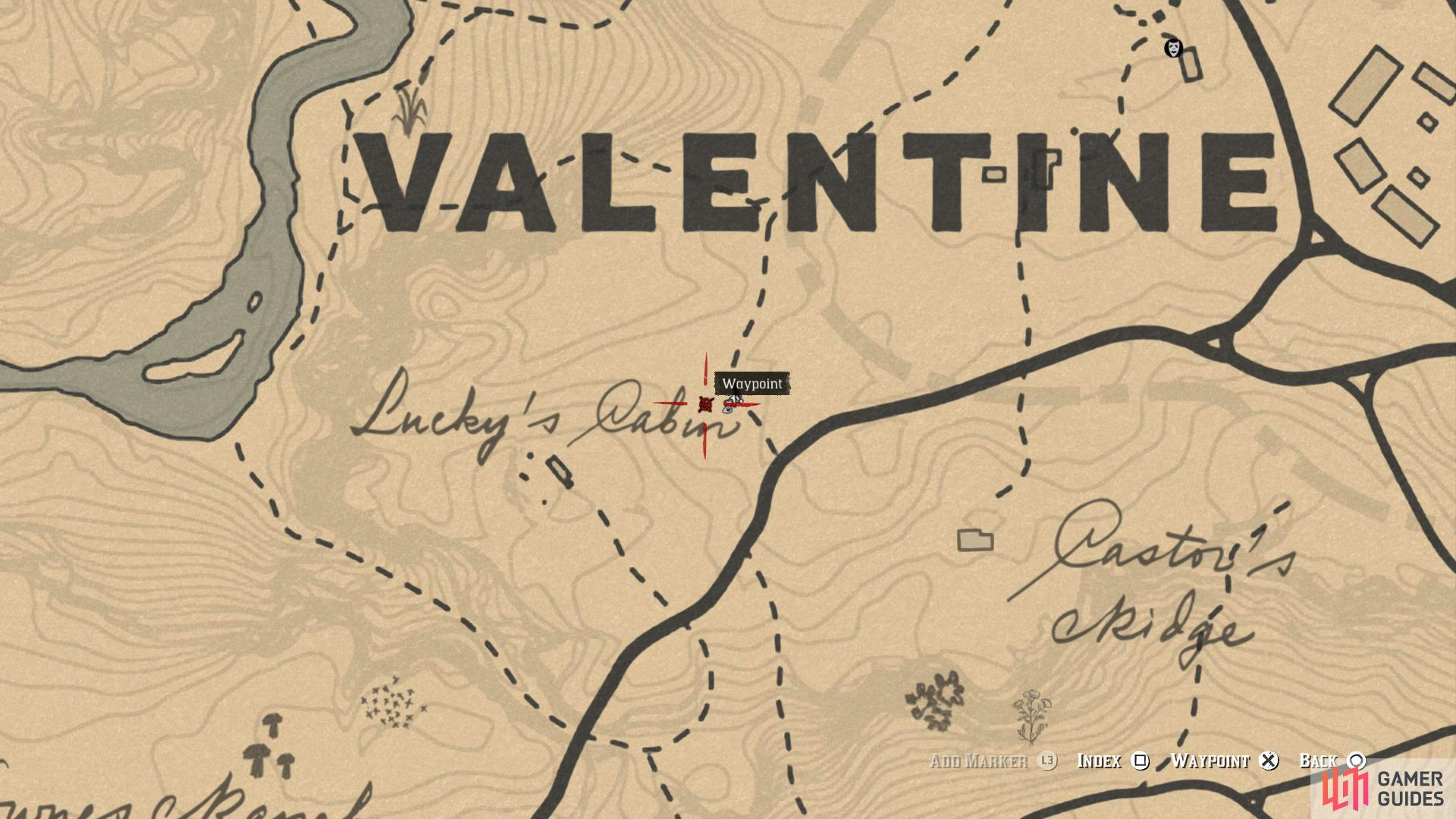 You'll find Lucky's Cabin to the southwest of Valentine