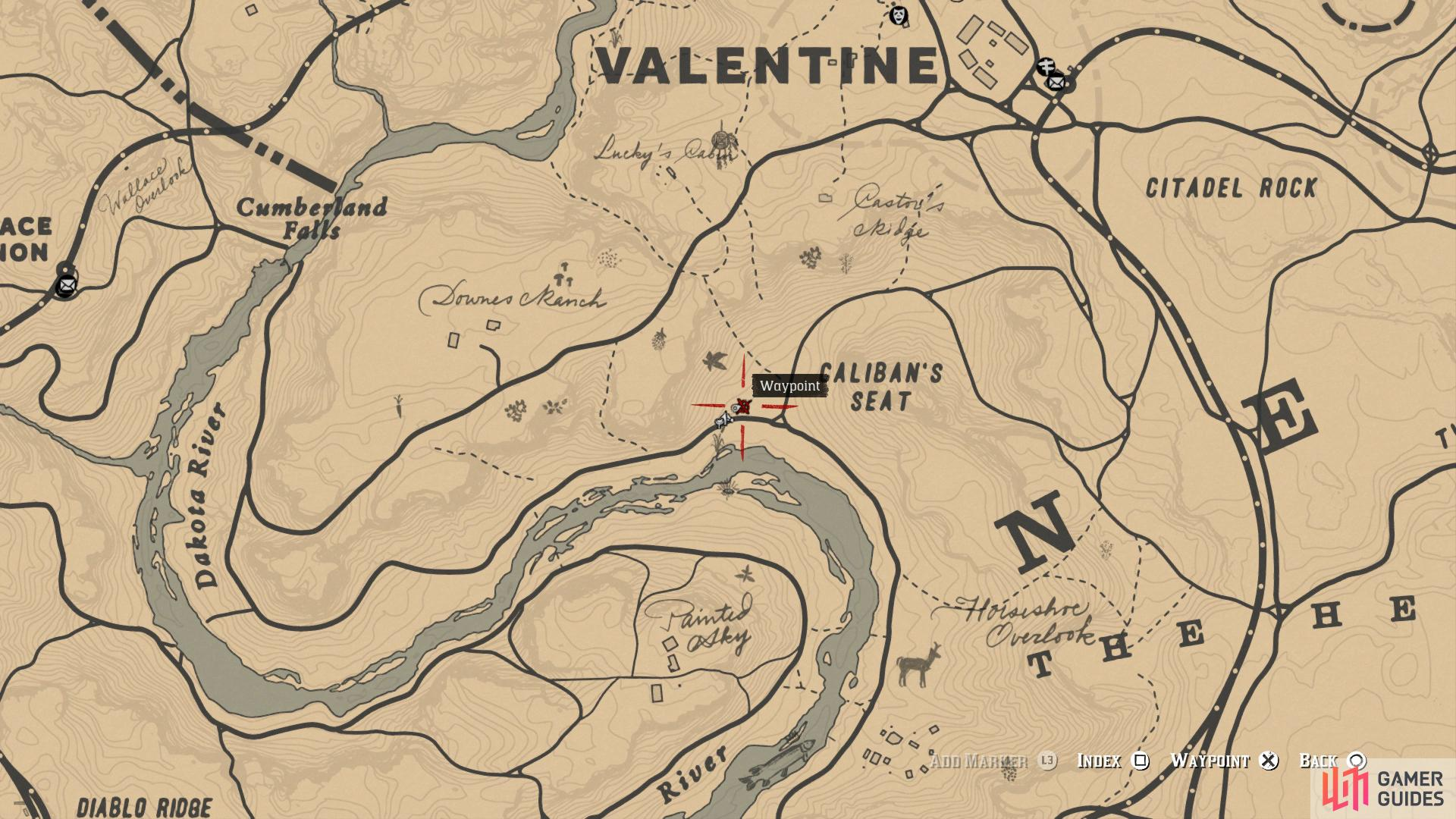 Locate Caliban's Seat to the south of Valentine