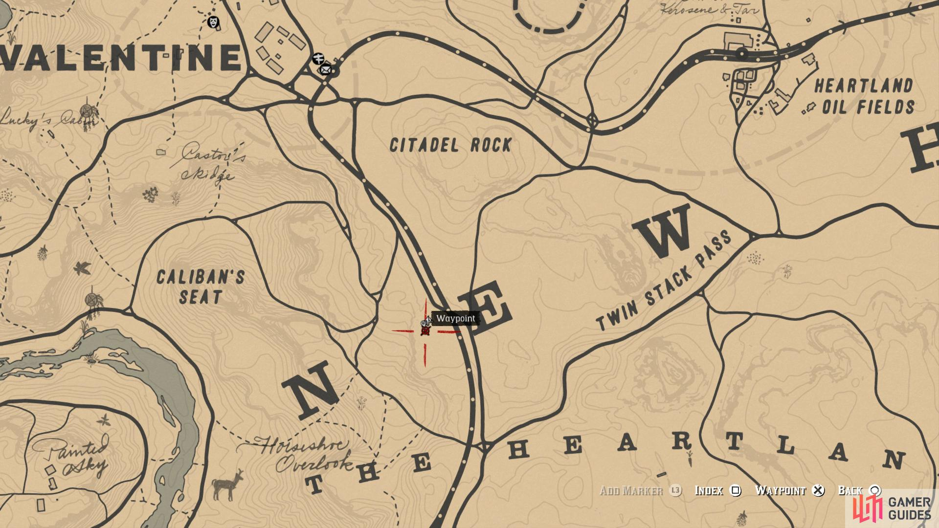 "Head over to the ""E"" of New Hanover on the map"