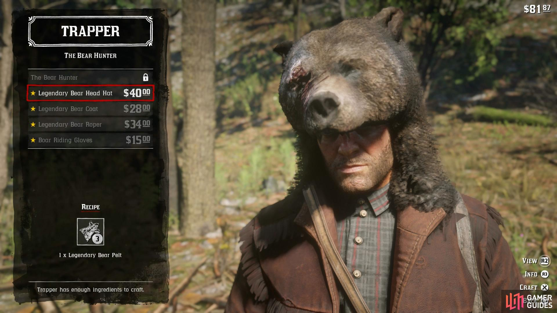 the Trapper will take Legendary pelts to craft unique outfits.