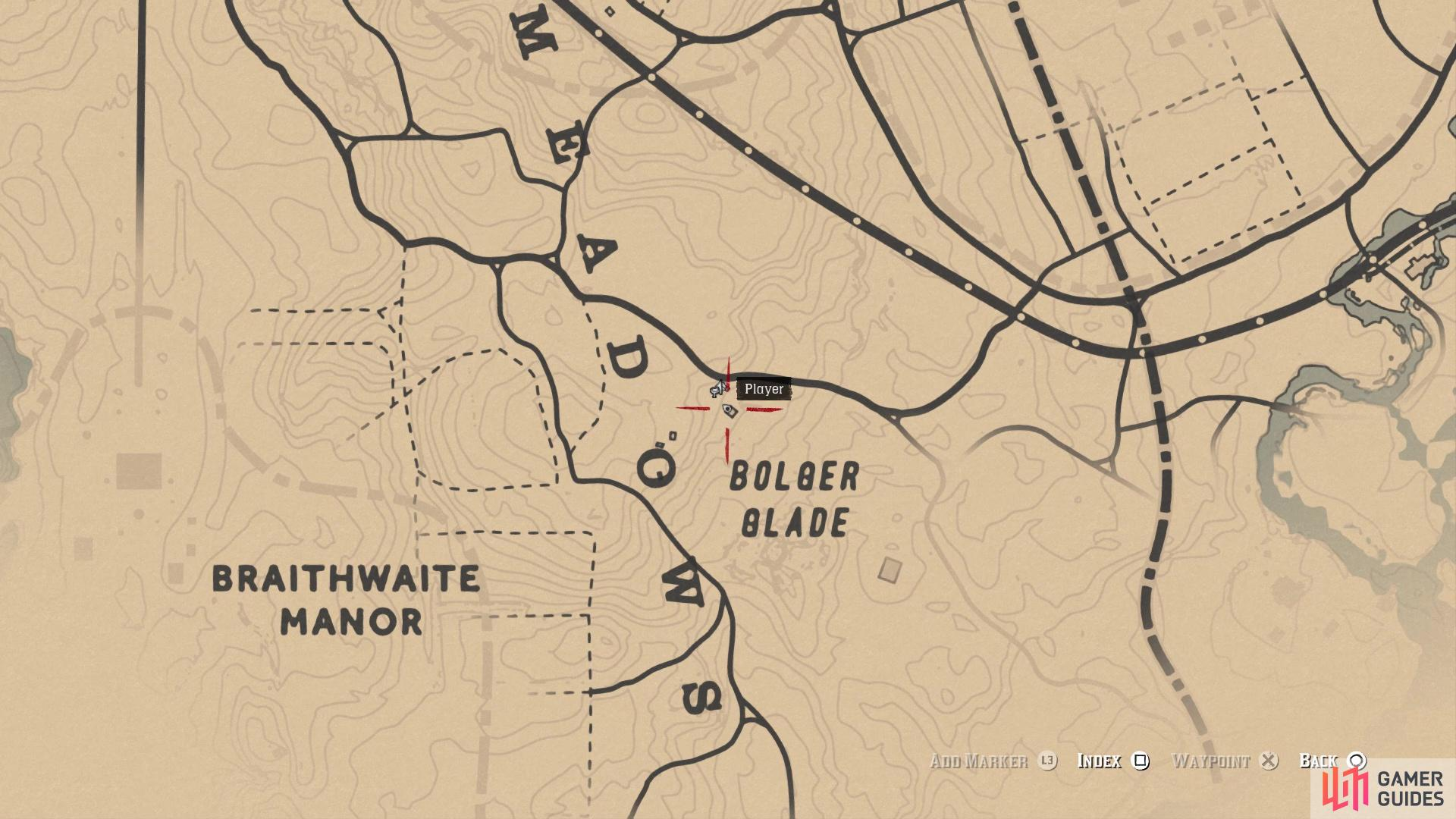 The location of the Bloodhound card on the map
