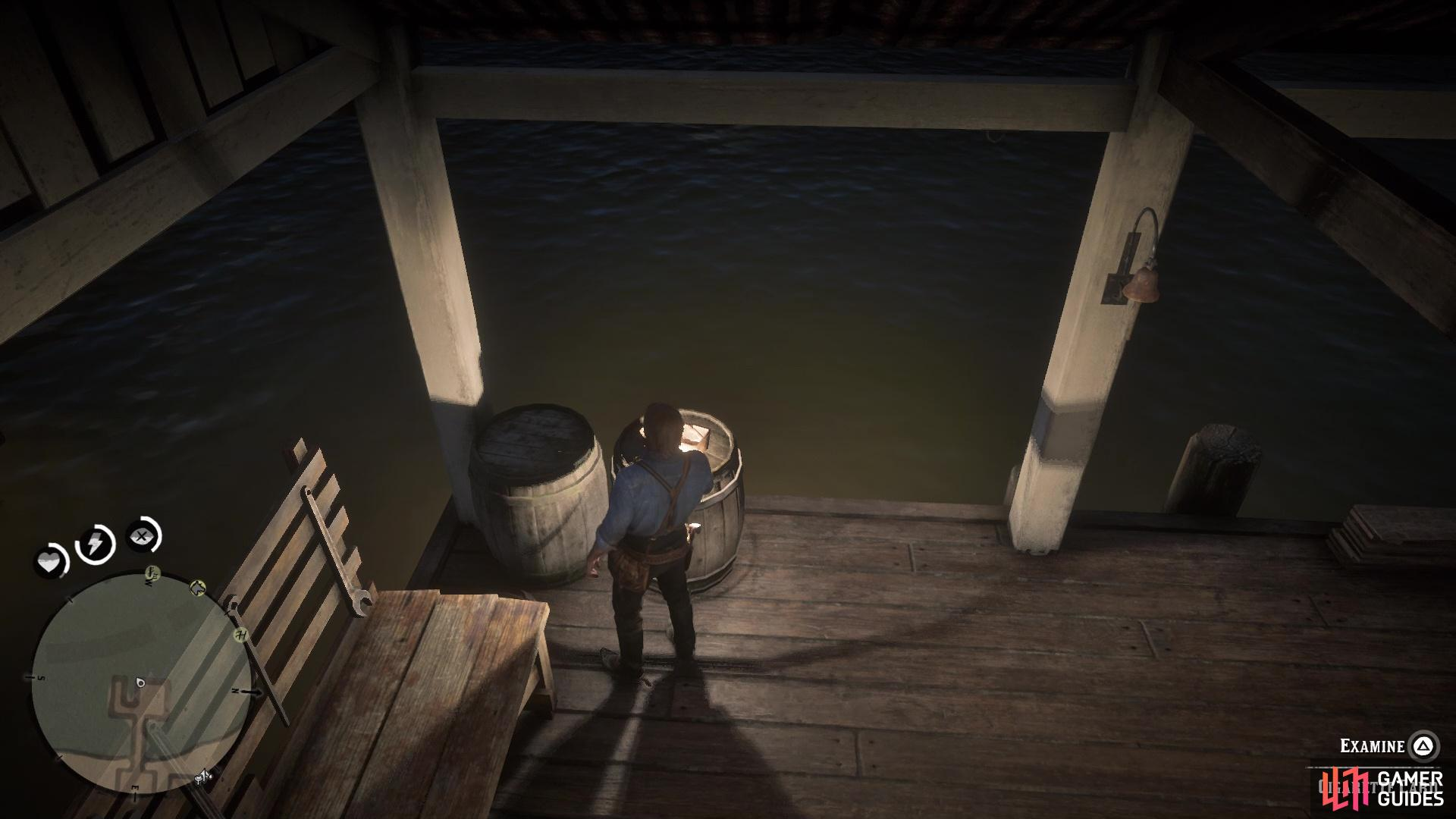It will be found on the barrel at the end of the dock