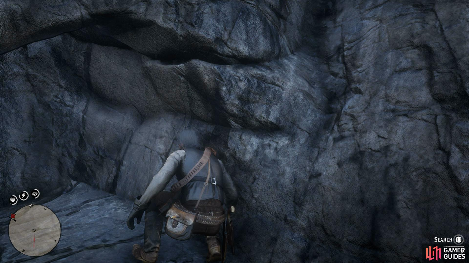 after leaping to one more rock, follow the path under the rocks to find the treasure.
