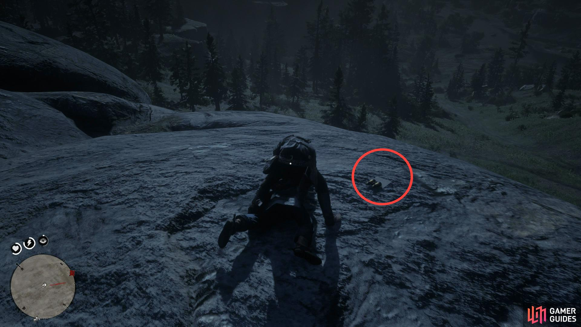 the map can be found on the ground next to him.