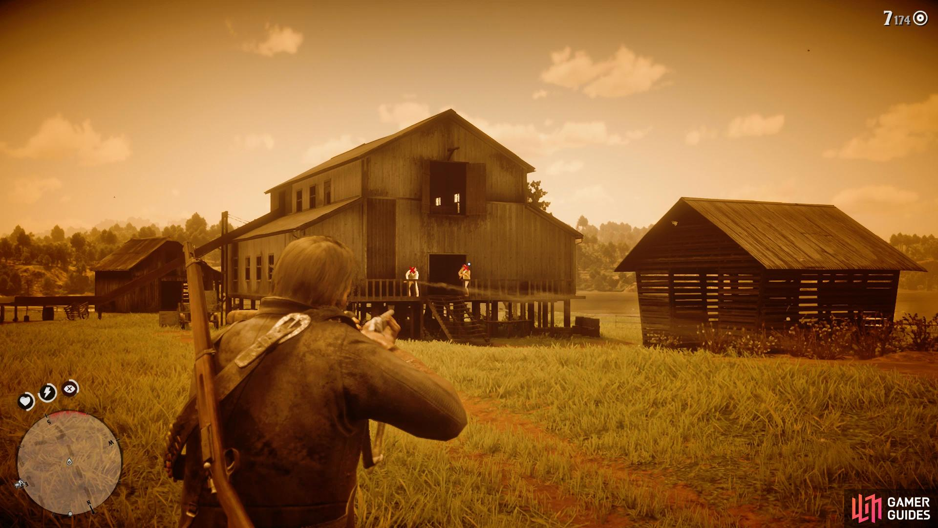 use Dead Eye as you approach the barn to take out the remaining enemies easily.