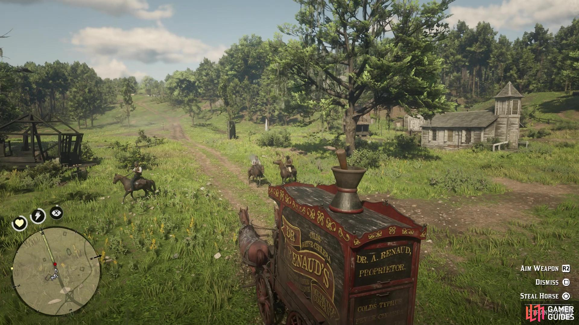 There will be three enemies on horses on the way back with the wagon
