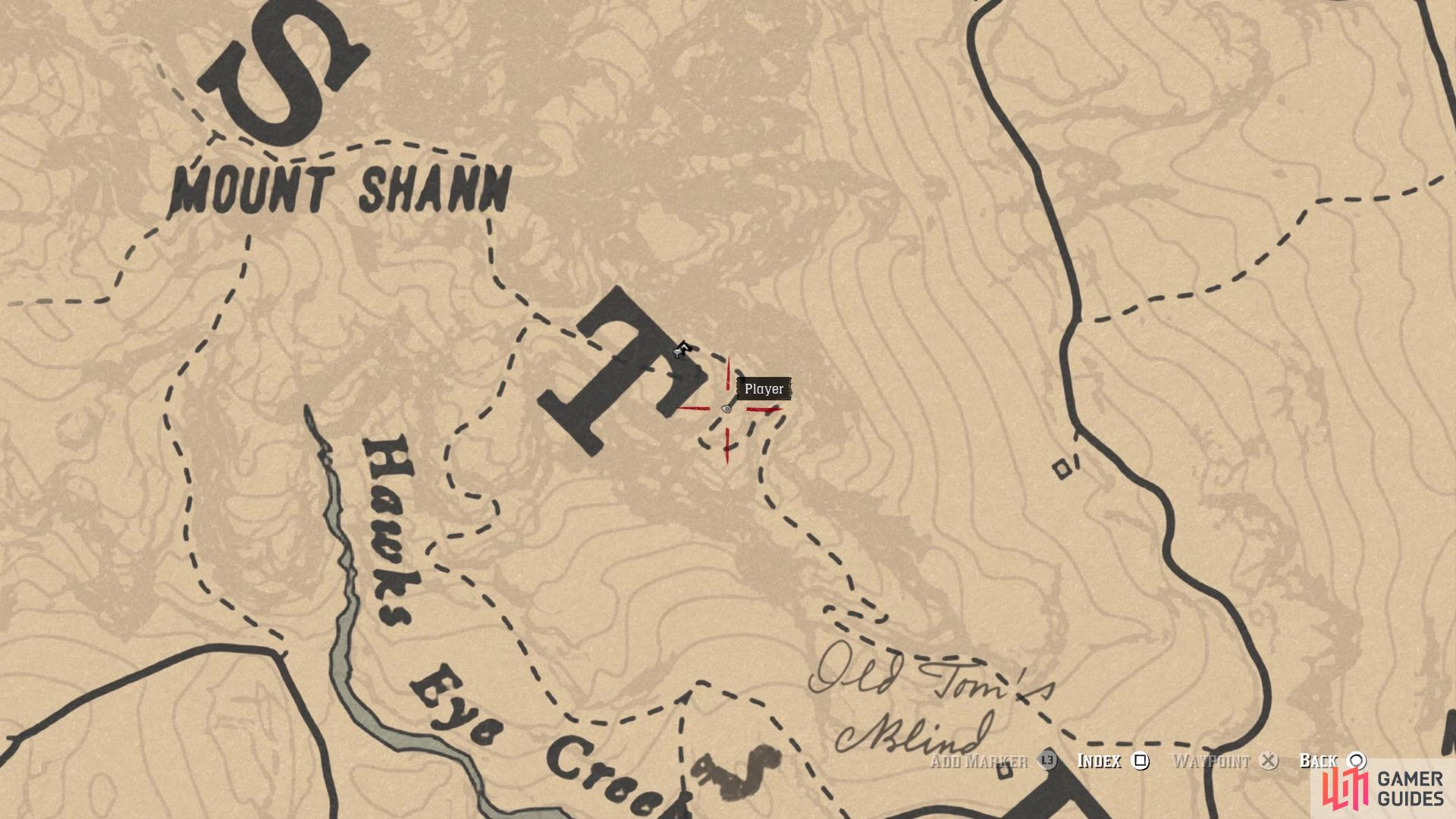The location of the carving on the map