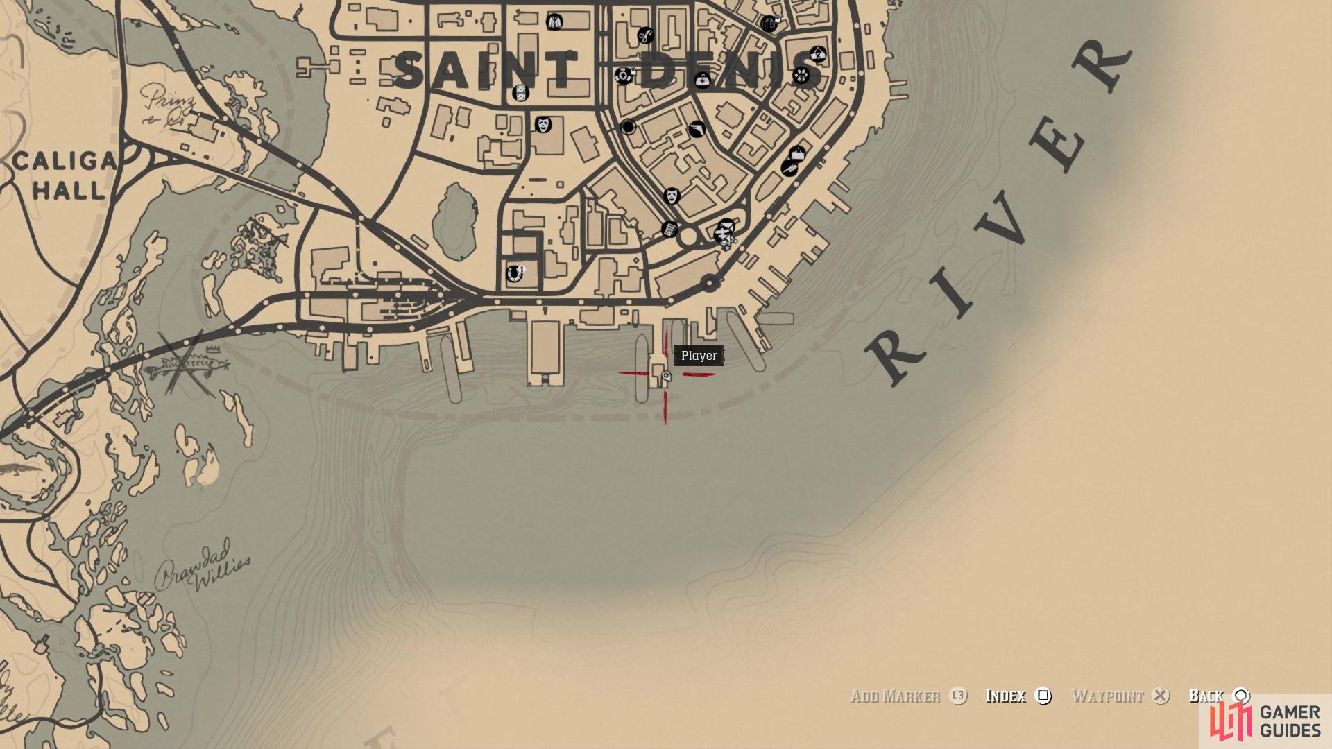 The location of The Showboat card on the map