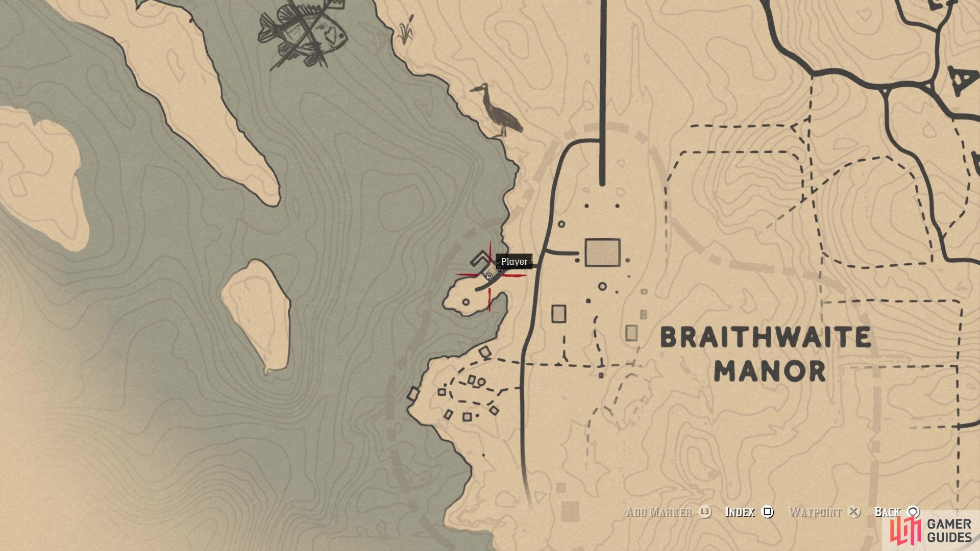 The location of the US Frigate card on the map