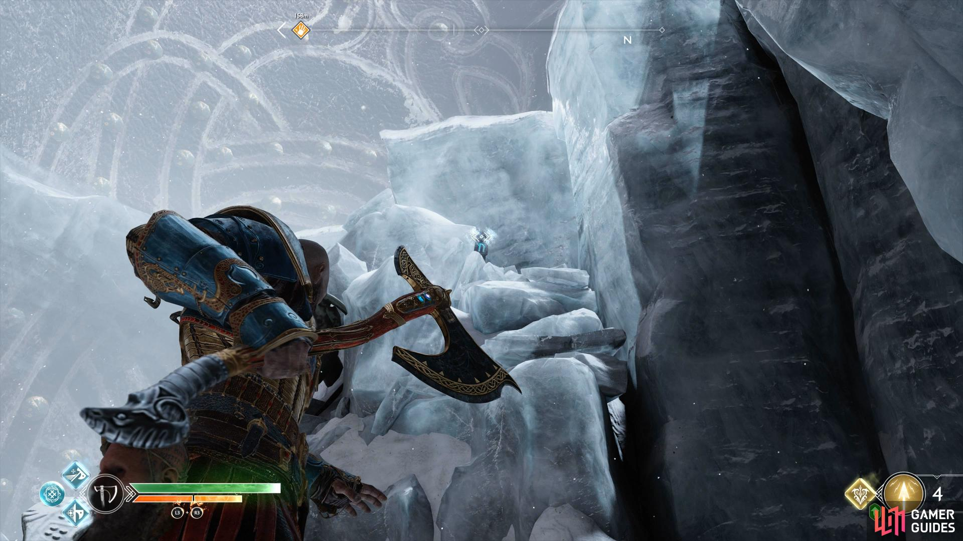 drop down to a second platform and look on top of the blocks of ice for the final rune.