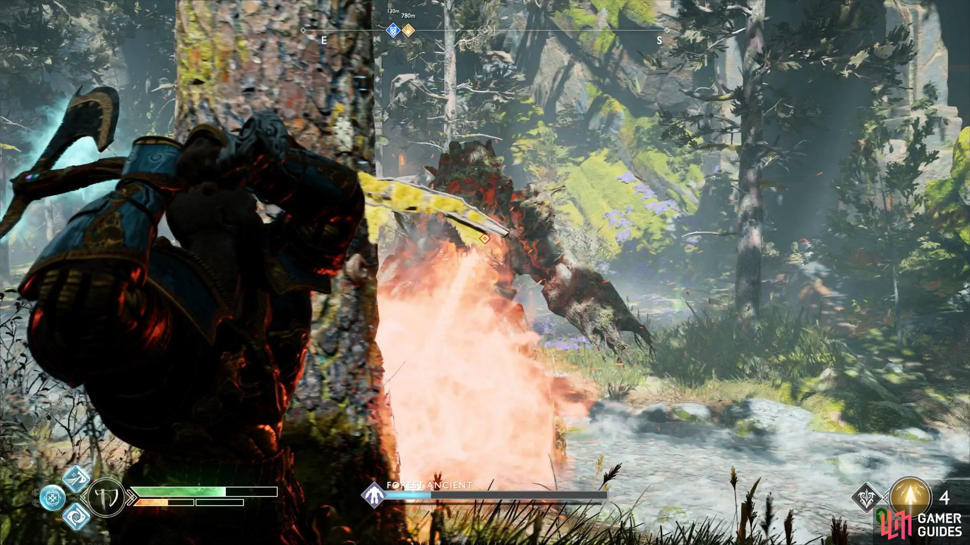 Use the trees to take cover from the Forest Ancient's beams