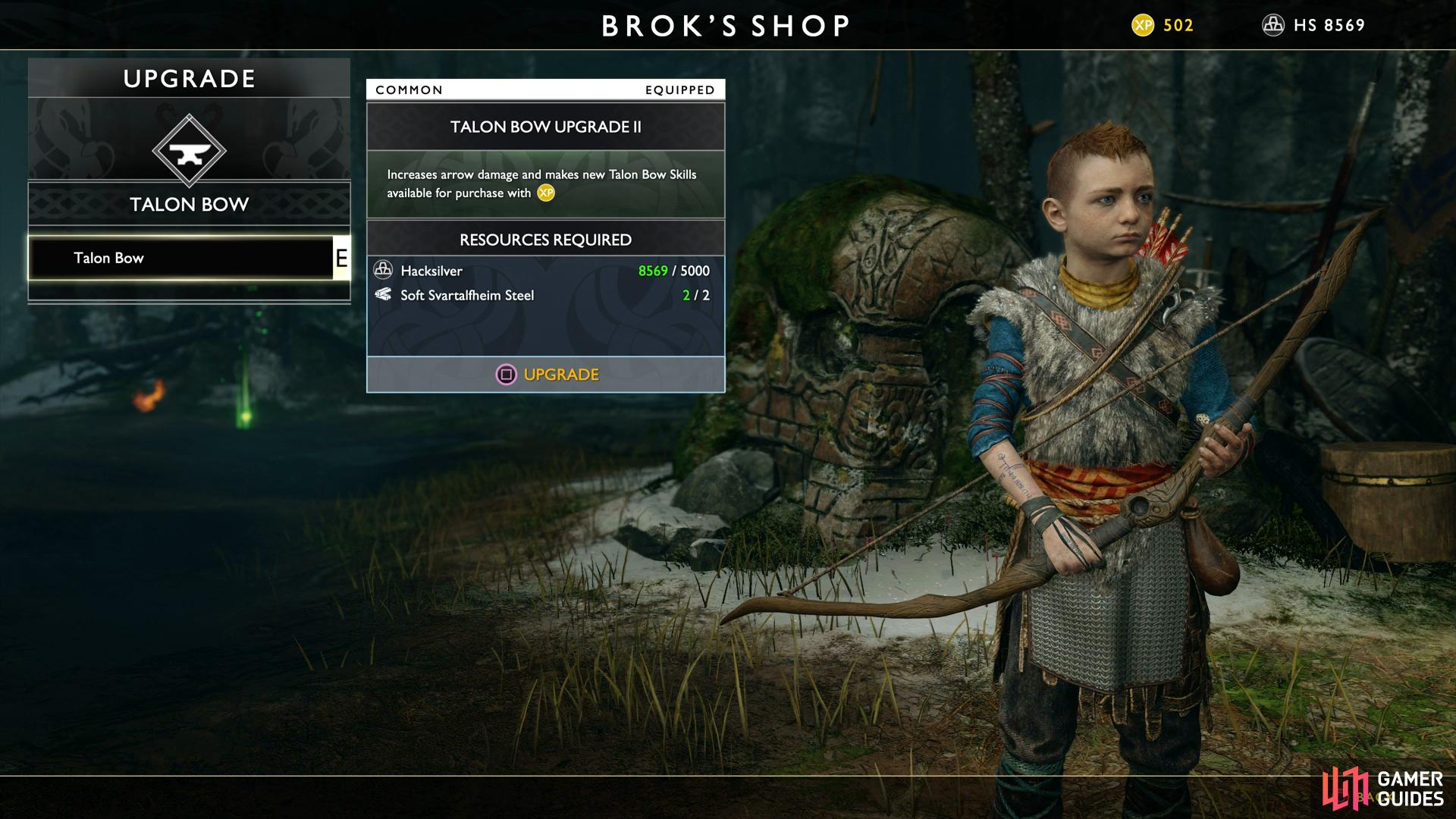 Be sure to purchase the first Talon Bow upgrade for Atreus.
