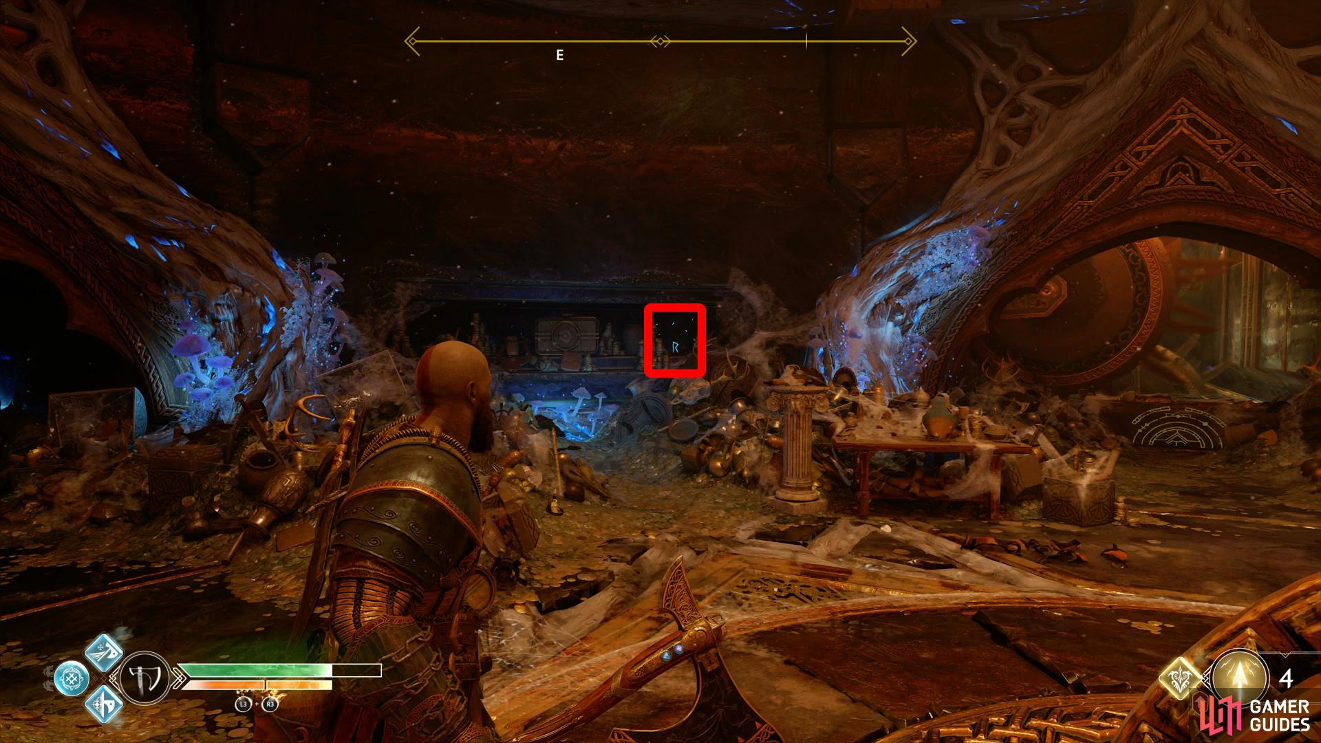 check the shelf to the left of the wheel to find the first Rune.