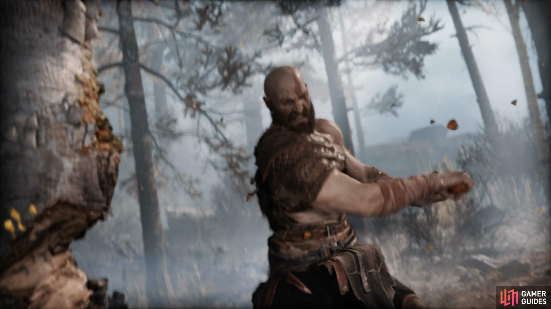 Although a cinematic, you'll still need to help Kratos fell the tree with the [R1] button