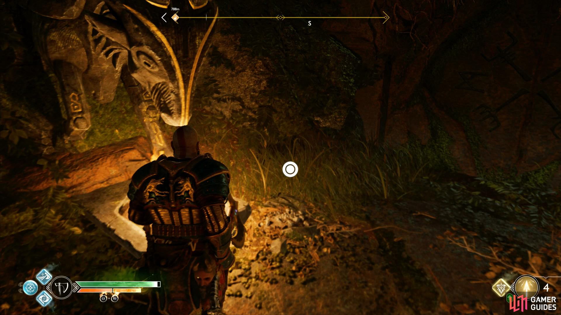 Check near the left brazier in front of the sealed door to find The Historian treasure