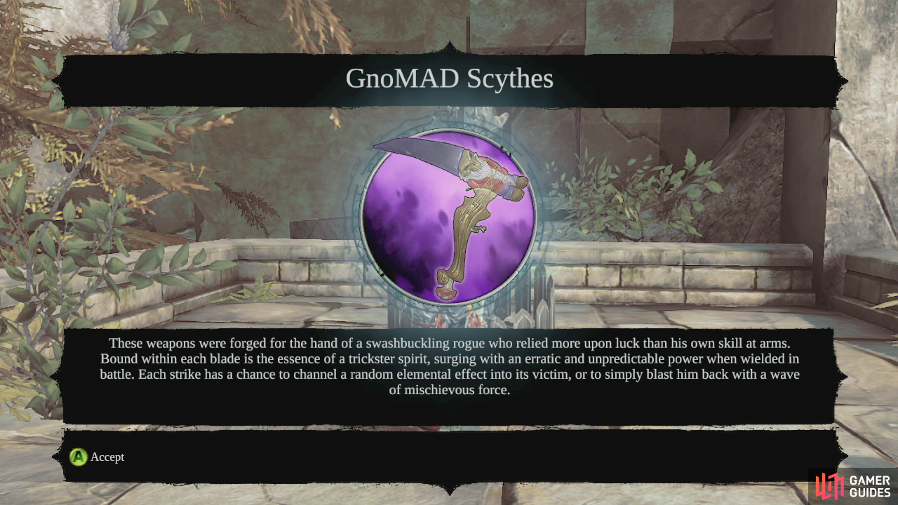 Once all four have been found, you will recieve a message telling you to visit a Serpent Tome. Go to a Serpent tome and open the mail from GnoMAD to earn a new legendary item - GnoMAD Scythes. This will complete the quest.