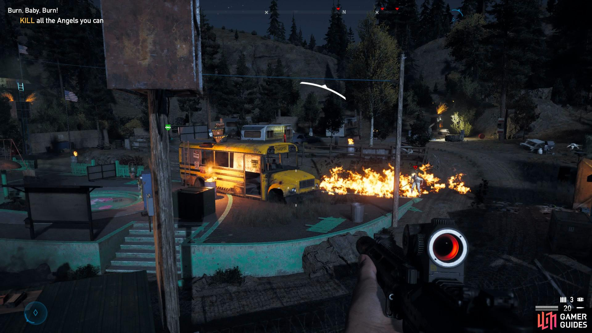 Using a Molotov can cause damage over a large area