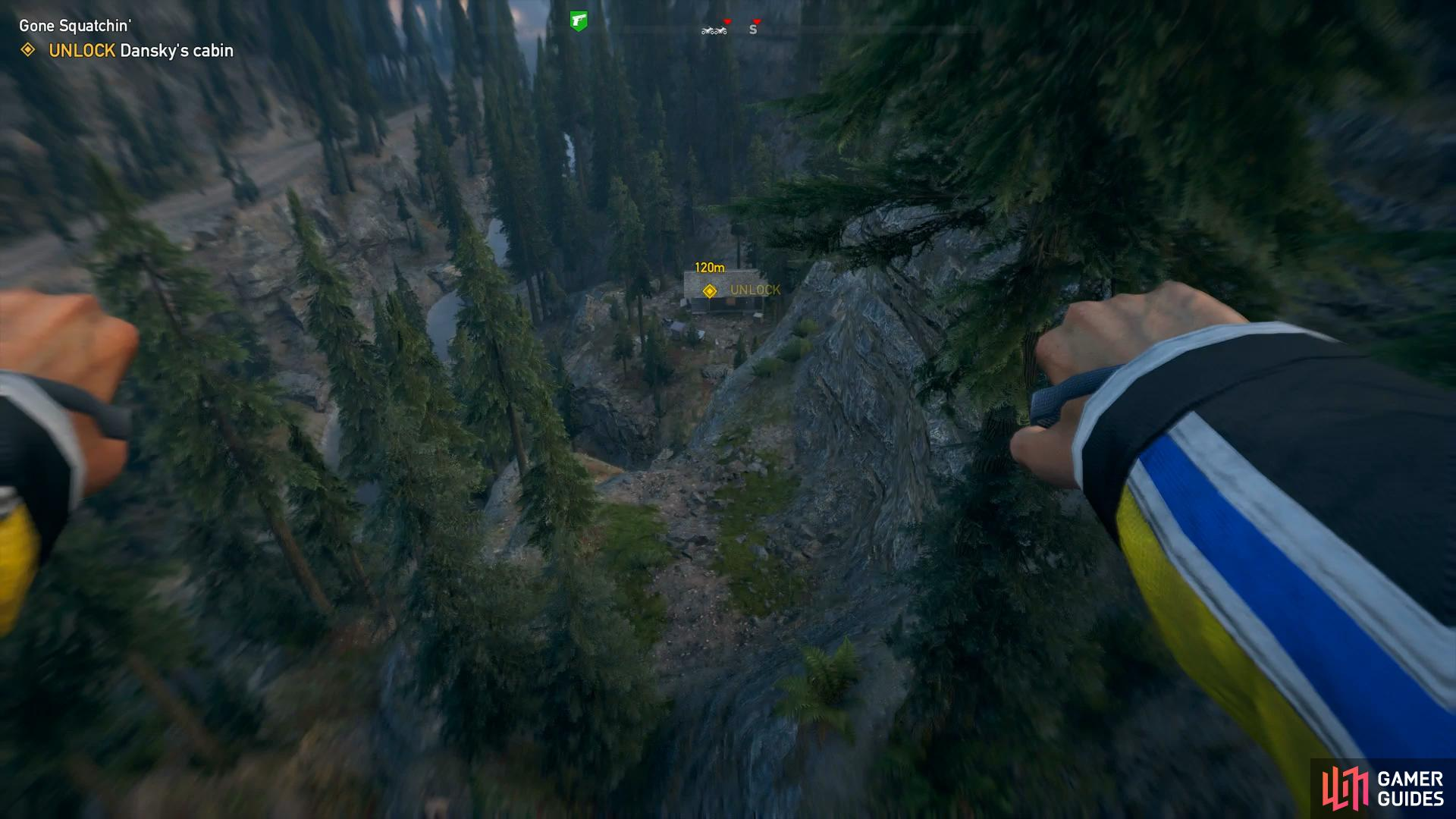 jump off the cliff in the direction of the cabin and use the wingsuit or parachute