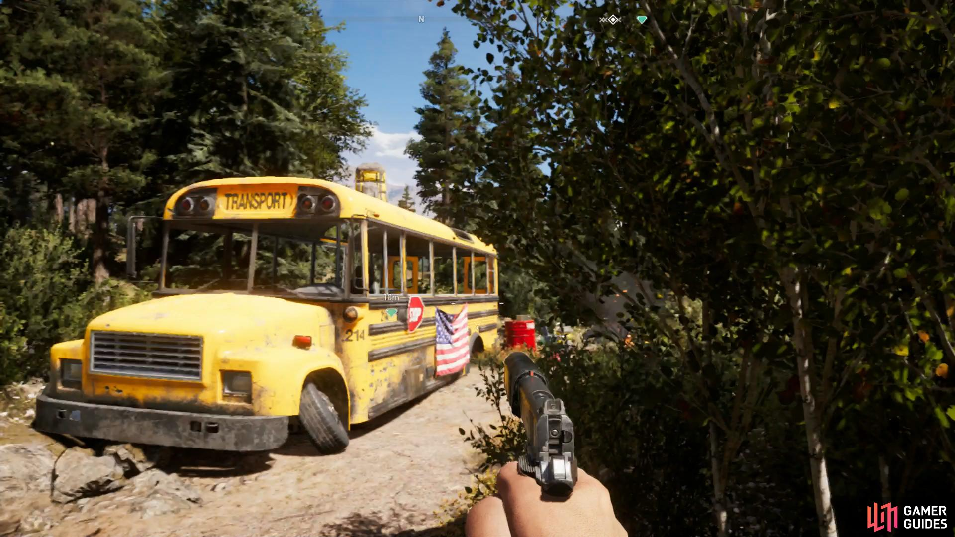 You'll find  the Hope County Jail Bus west of Fall's End