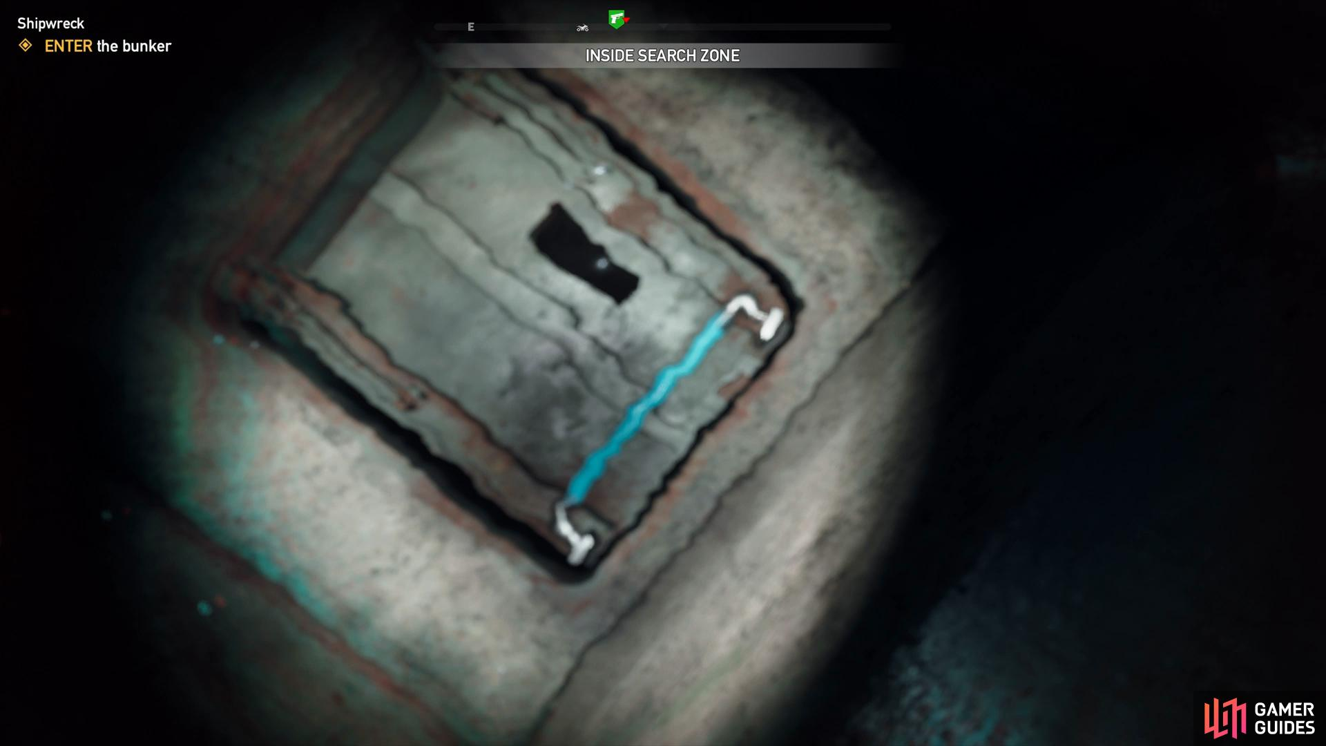 swim up and open the hatch to enter the bunker