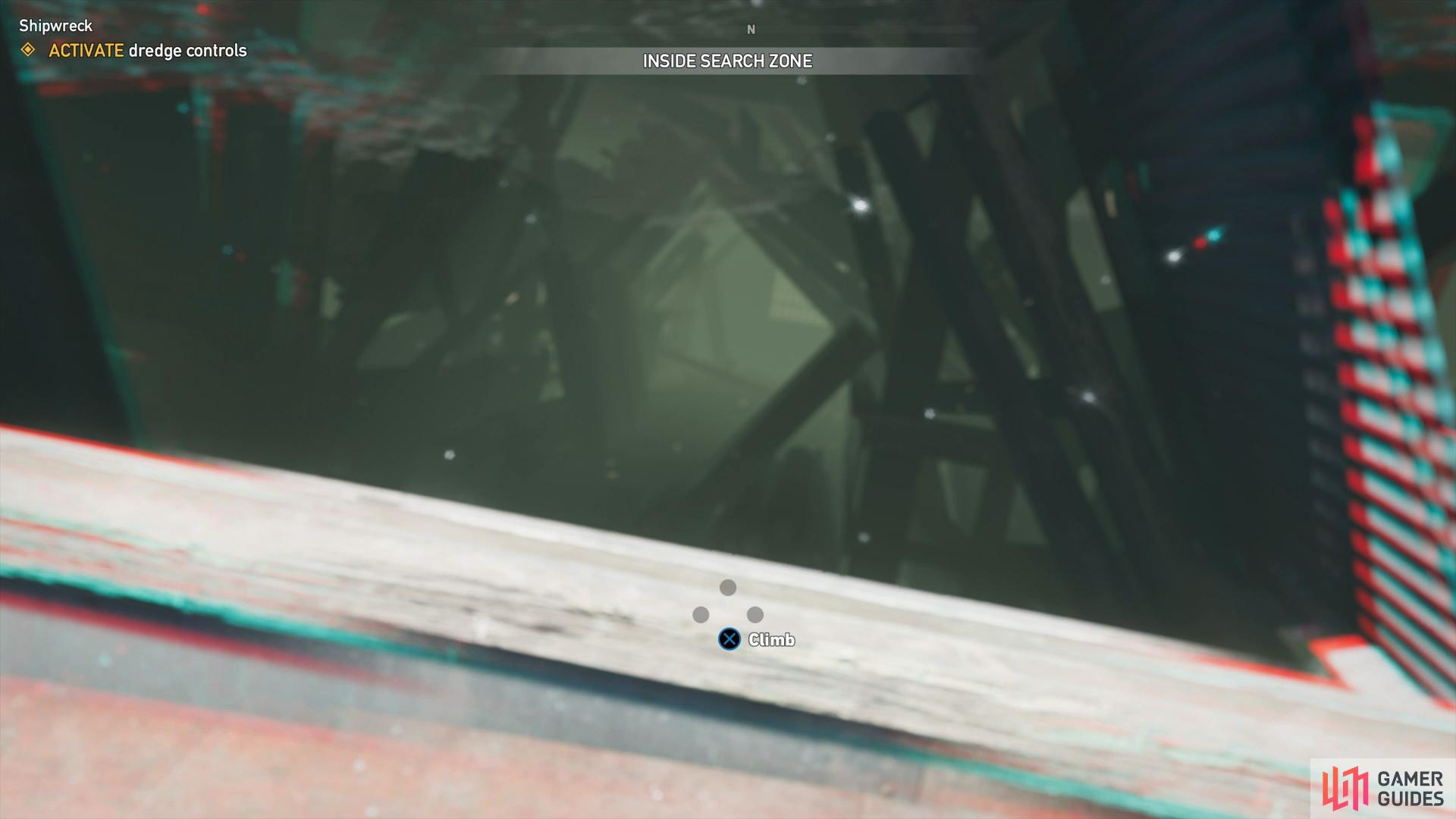 swim through this opening to the end and climb out inside the dredge