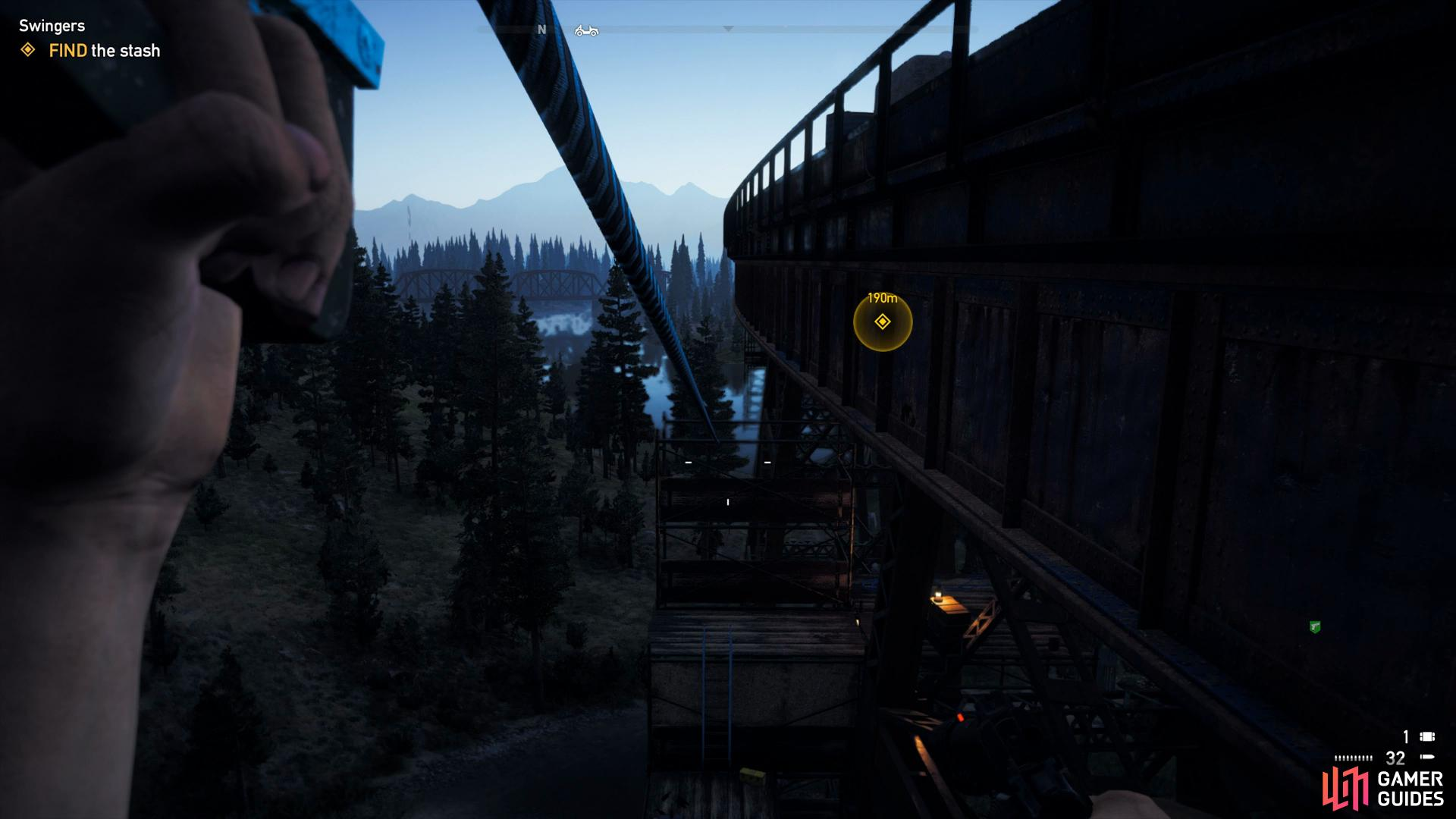 use the zipline to access the bridge