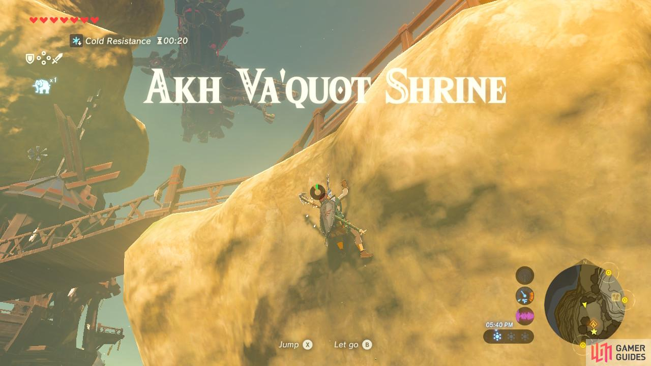 This Shrine serves as the fast-travel point for the Rito Village. It's above this cliff
