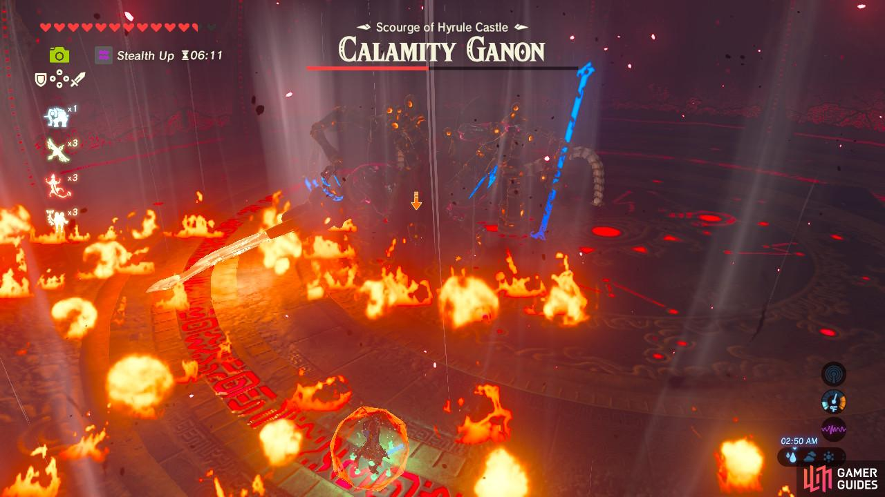 Calamity Ganon's fiery sword sweep will leave behind updrafts