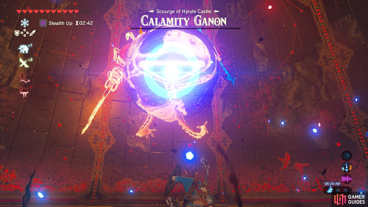 Calamity Ganon will wind up to throw a trident at you