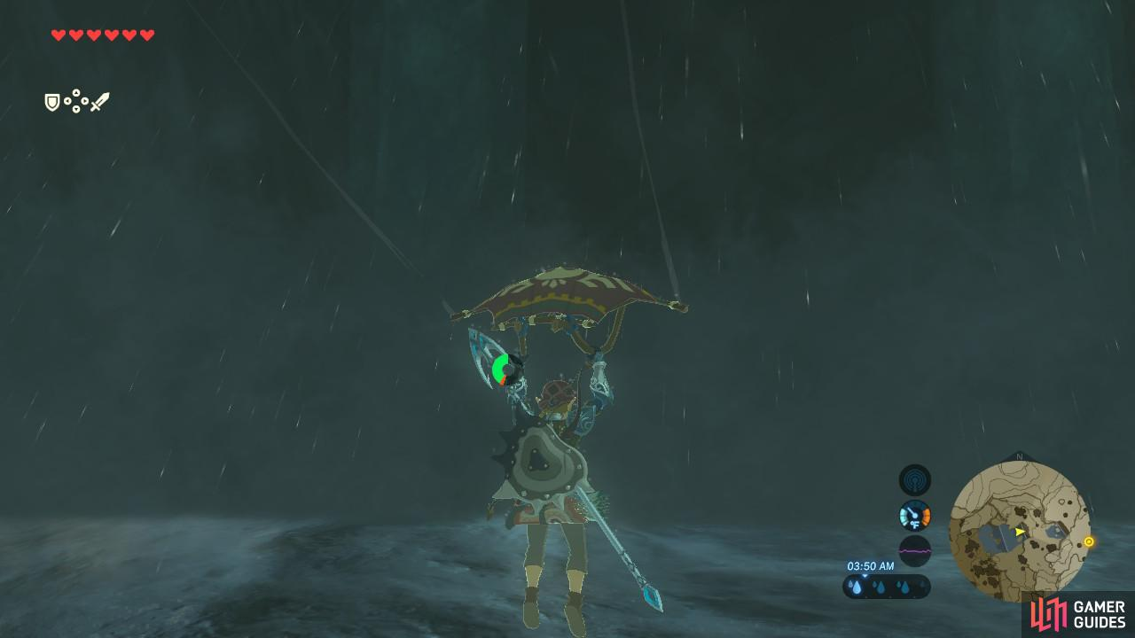 Link will automatically deploy his Paraglider after clearing the waterfall.