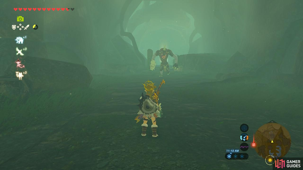 A Moblin sits right in the middle of the Spring of Power
