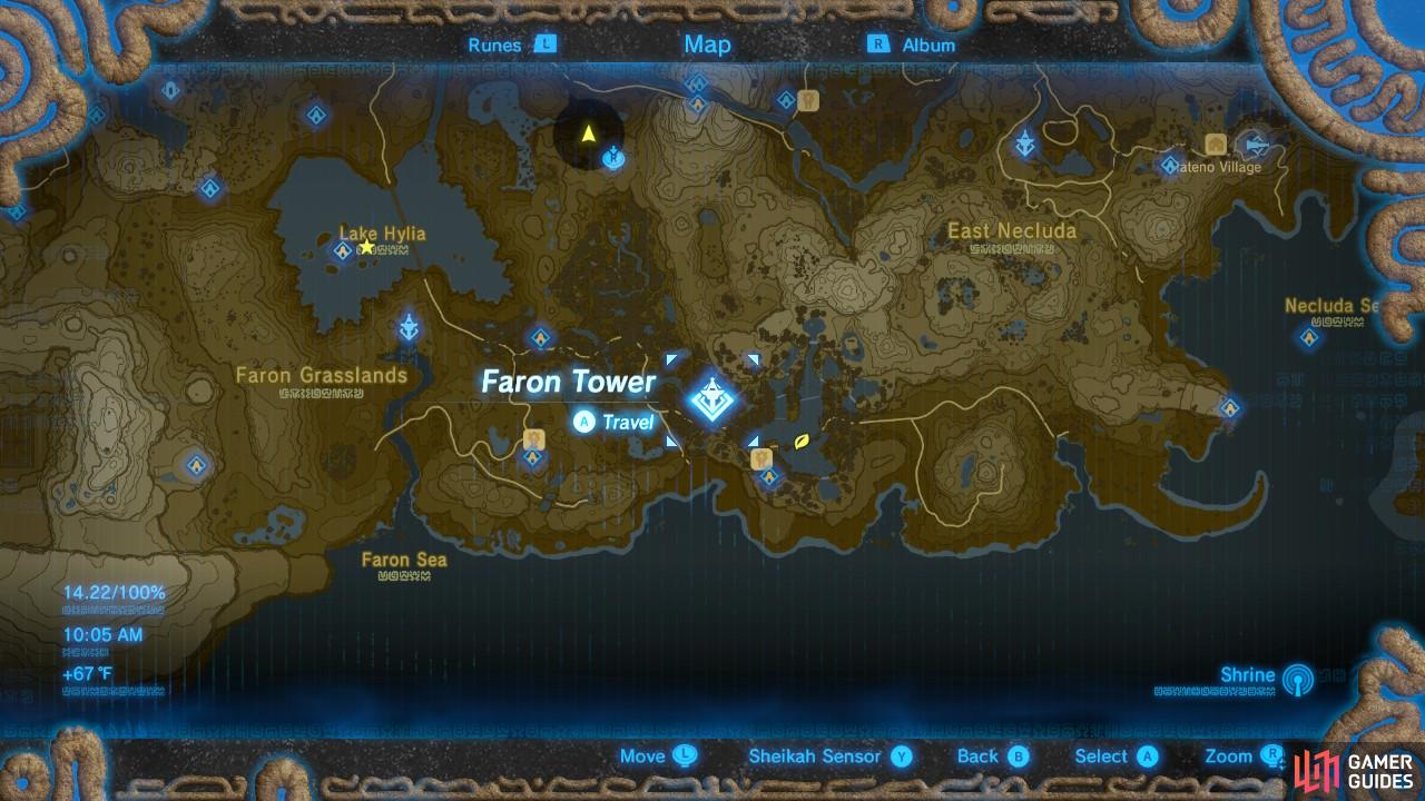 The Faron region is in the southeastern area of Hyrule