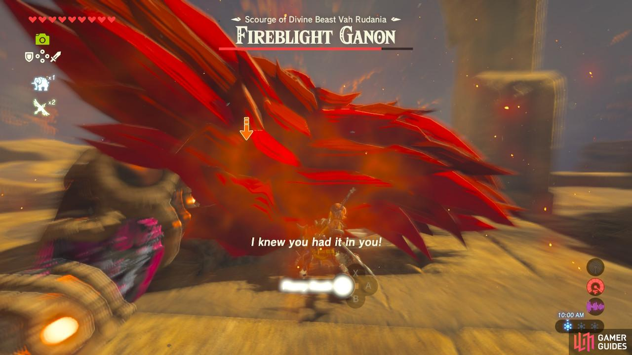 Fireblight Ganon's broadsword attacks can be dodged to initiate Flurry Rush