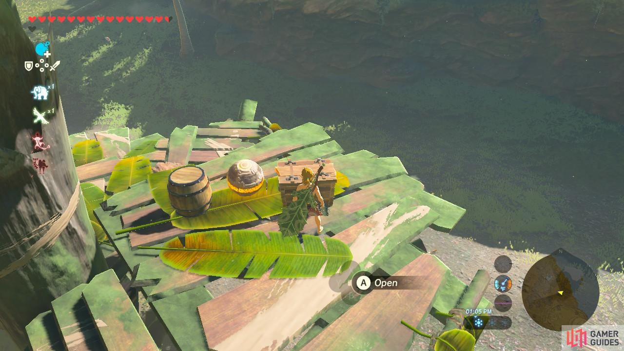 Once you have cleaned out the Bokoblin camp, open the chest for a bow