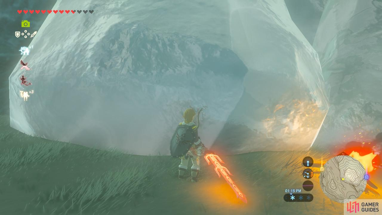 You will first see the Shrine as just this giant hunk of ice here