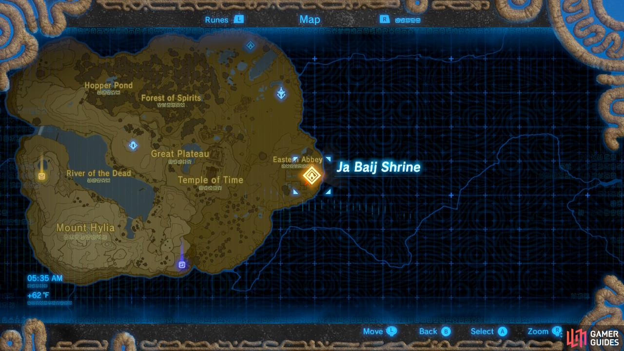 Here is the location of the Ja Baij Shrine according to your Sheikah Slate.