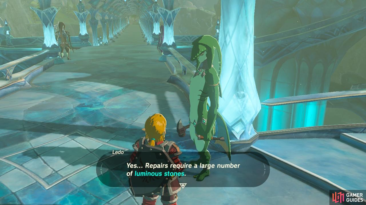 Talk to this Zora to initiate the sidequest