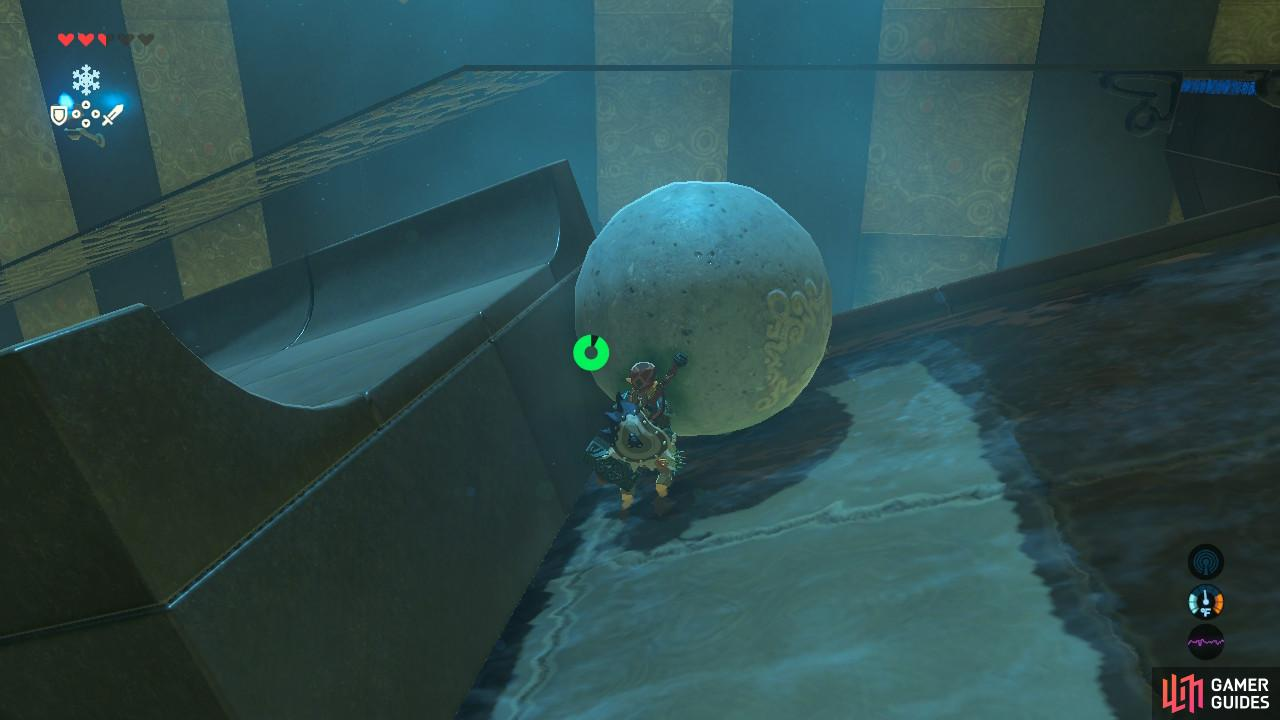 Push the normal stone ball over to this spot here